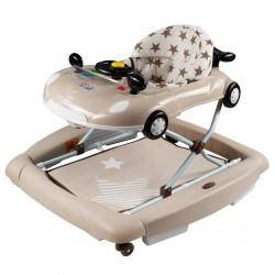 Dětské chodítko s houpačkou a silikonovými kolečky New Baby Little Racing Car, Béžová