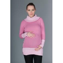 Těhotenský svetřík/tunika Carmen - růžová s melirkem