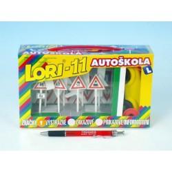 Stavebnice LORI 11 Autoškola Dopravní značky 16ks+2 kužely+auto plast v krabici 22x13