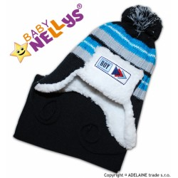 Zimní čepička s kožíškem a šálou MATY - tm.modrá
