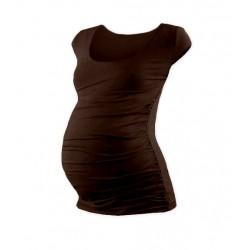 Těhotenské triko mini rukáv JOHANKA - čokohnědá