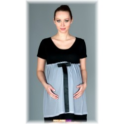 Elegantní těhotenské šaty se stuhou - černé s šedou