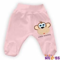 Bavlněné polodupačky Little Monkey - růžové