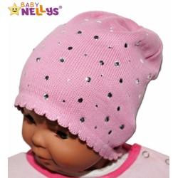 Čepička Baby Nellys ® s kamínky - sv. růžová