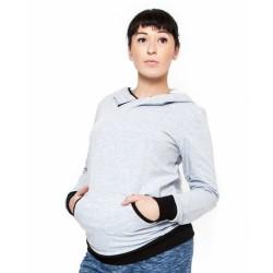Těhotenská mikina s kapucí Vera - sv. šedý melírek