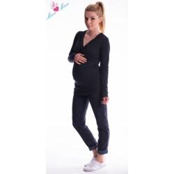 Těhotenská mikina s kapucí OLINA - černá