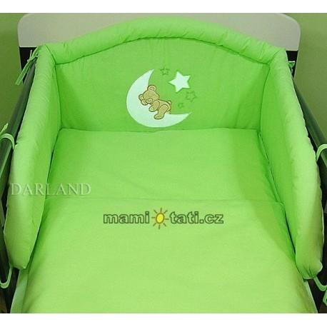 Mantinel s povlečením lux Darland - Medvídek na měsíčku 120 x 90 - zelená