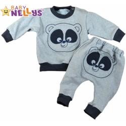 Tepláková souprava Baby Nellys ® - Medvídek - šedý melír/granatový lem