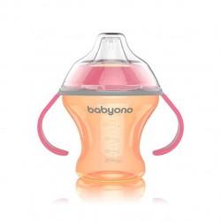 Nekapající hrneček s měkkým pítkem Baby Ono - oranžovo/růžový