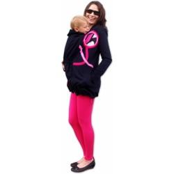 Nosící mikina - pro nošení dítěte v předu i vzadu na těle - růžové aplikace