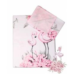 2-dílné bavlněné povlečení Baby Nellys - Plameňák růžový