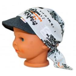 Baby Nellys Šátek na zavazování s kšiltem - Motorky, vel. 44-46