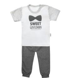 Bavlněné pyžamko Mamatti Gentleman - krátký rukáv - šedé