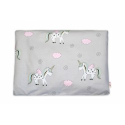 Baby Nellys  Povlak na polštářek Jednorožec, 40x60 cm - šedý. růžový