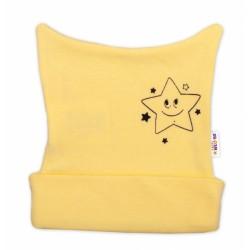 Novorozenecká čepička Baby Nellys, Baby Little Star - žlutá