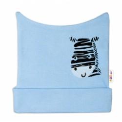 Novorozenecká čepička Baby Nellys, Zebra - modrá