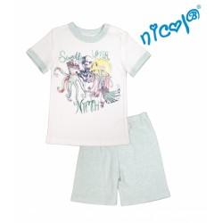 Dětské pyžamo Nicol kr. rukáv/kraťasky, Mořská víla - mátové/bílé