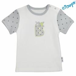 Kojenecké bavlněné tričko Nicol, Boy - krátký rukáv, šedé/smetanová