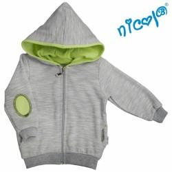 Mikina s kapucí Nicol, zapínání na zip, Boy - šedá/zelená