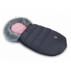 Mamo Tato Zimní fusak Lux s kožešinkou, 50 x 100cm - Grafit/růžový