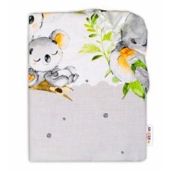 Baby Nellys Dětské bavlněné prostěradlo do postýlky - Medvídek Koala, šedá