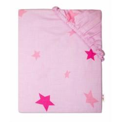 Baby Nellys Dětské bavlněné prostěradlo do postýlky - Hvězdičky růžové