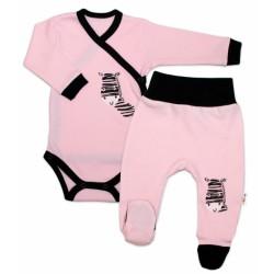 Baby Nellys 2-dílná sada body dl. rukáv + polodupačky, růžová - Zebra