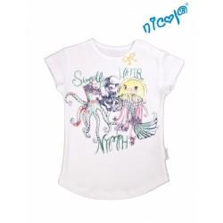 Kojeneké bavlněné tričko Nicol, Mořská víla - krátký rukáv, bílé