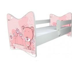 BabyBoo Dětská postýlka LUX Medvídek STYDLÍN růžový 140x70 cm.  D19