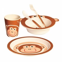 Bambusová eko sada dětského nádobí Mertens 5 ks - Opička