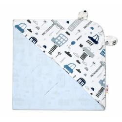 Bavlněná zavinovací deka s kapucí Baby Nellys - Městečko, bílá/sv. modrá
