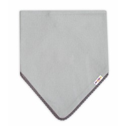 Dětský bavlněný šátek na krk s mini bambulkami Baby Nellys - šedý/šedý lem