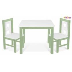 BABY NELLYS Dětský nábytek - 3 ks,  stůl s židličkami - zelená, bílá, C/04