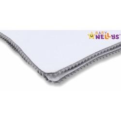 Baby Nellys Letní deka s mini bambulkami, jersey, 100 x 75 cm - bílá/šedý lem