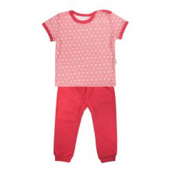 Bavlněné pyžamko Mamatti Love Girl - krátký rukáv - červené