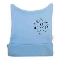 Novorozenecká čepička Baby Nellys, Baby Little Star - modrá