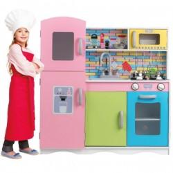 Eco Toys Dřevěná kuchyňka XXL s příslušenstvím, 86 x 81 x 30 cm - barevná