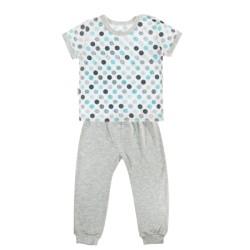 Bavlněné pyžamko Mamatti Bubble Boo - krátký rukáv - šedé/tyrkys