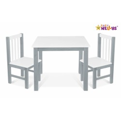BABY NELLYS Dětský nábytek - 3 ks,  stůl s židličkami - šedá, bílá, A/06