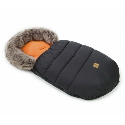 Mamo Tato Zimní fusak Lux s kožešinkou, 50 x 100cm - Černý/cihlový