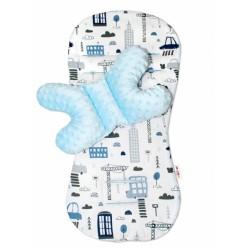 Sada do kočárku Baby Nellys minky, podložka + polštářek - Městečko, modrá/bílá