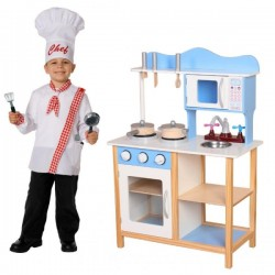Eco Toys Dřevěná kuchyňka s příslušenstvím, 85 x 60 x 30 cm - modrá
