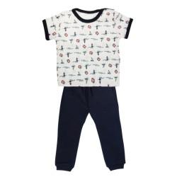 Bavlněné pyžamko Mamatti Maják - krátký rukáv - granátové
