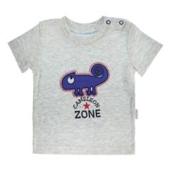 Bavlněné tričko Mamatti Chameleon krátký rukáv - šedé