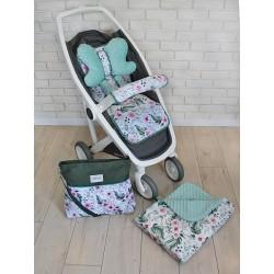 Mega sada do kočárku s taškou na kočárek - Květinky/flowers - zelená/máta, Ce19