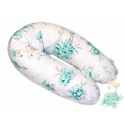 Bavlněný kojící polštář - relaxační poduška Baby Nellys, Plameňák - mátový