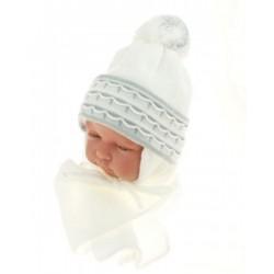 BABY NELLYS Zimní čepička s šálou - s imitací volánku - šedá