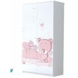 BabyBoo Dětská skříň - Medvídek STYDLÍN růžový, D19