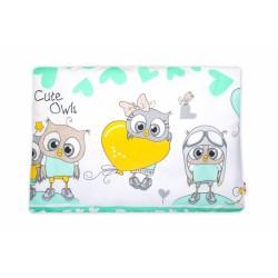 Baby Nellys  Povlak na polštářek Cute Owls, 40x60 cm - zelený