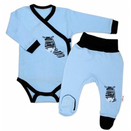 Baby Nellys 2-dílná sada body dl. rukáv + polodupačky, modrá - Zebra
